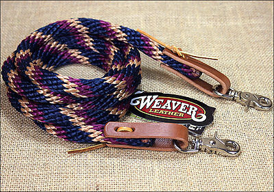 NAVY TAN 8ft WEAVER HORSE POLY ROPING REINS W/ LEATHER LACES LOOP ENDS