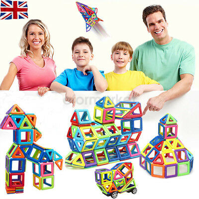 76Pcs DIY 3D Multicolour Magnetic Blocks Construction Building Kids Toy UK Stock