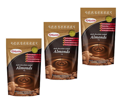 Morlife Dark Chocolate Coated Almond nuts 125gm x 3 (375gm) - Antiox rich