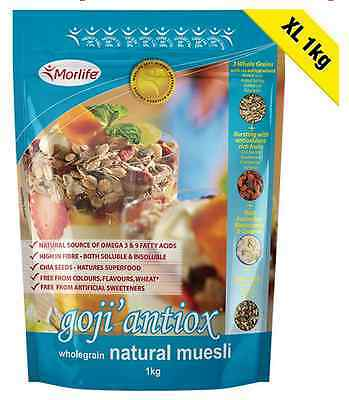 Morlife Goji'antiox Wholegrain Natural Muesli 1kg BULK saving | OMEGA 3 | Antiox