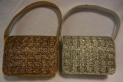 Purse Hand Bag Beaded Gold Silver Comeco Vintage Clutch