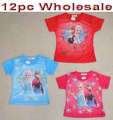 12pc Wholesale Kids Children Frozen T Shirt Girl's Clothing Mixed Color Size