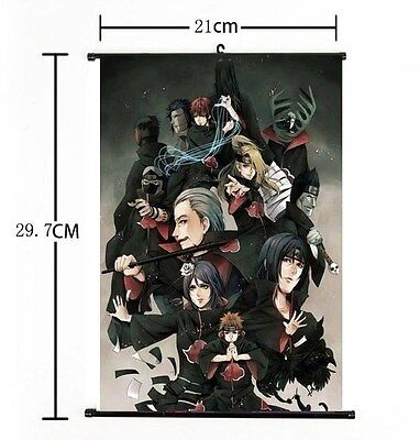 Hot Japan Anime Naruto Akatsuki menbers Home Decor Poster Wall Scroll 21*30CM