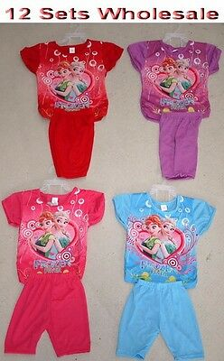12 Sets Wholesale Kids Children Girl Frozen T Shirt & Pants Set Clothing Mixed