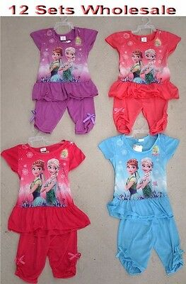 12 Sets Wholesale Kids Children Girl Frozen Skirt & Pants Set Clothing Mixed