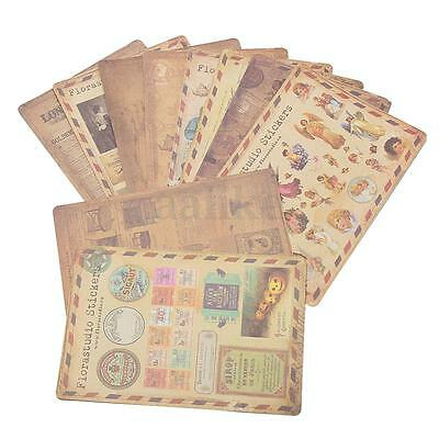 10 Sheets/Lot Vintage Paper DIY Stickers Scrapbooking Album Diary Craft Decor