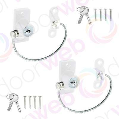 2 PACK UPVC WINDOW DOOR RESTRICTOR Chain Vent Child Safety Locking Cable WHITE