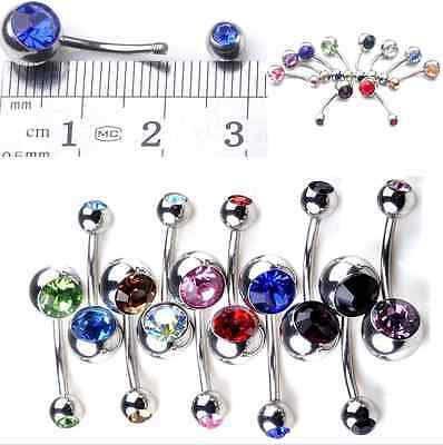 10Pcs Surgical Crystal Belly Bars Jewellery Navel Button Ring Gem Body Piercing