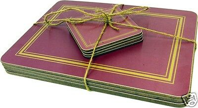 Set of 4 Melamine Placemats and Coasters - Wine Red
