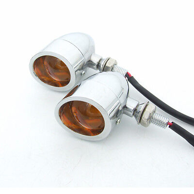 2 Chrome Bullet Motorcycle Motorbike Turn Signal Indicator Amber Light Universal