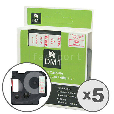 5pk Red on White Tape Label Compatible for DYMO 45015 D1 12mm 1/2""