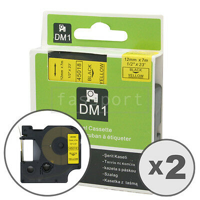 """2pk Black on Yellow Tape Label Compatible for DYMO 45018 D1 12mm 1/2"""""""