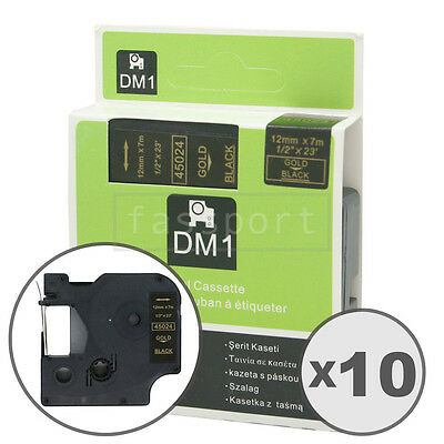 """10pk Gold on Black Tape Label Compatible for DYMO 45024 D1 12mm 1/2"""""""