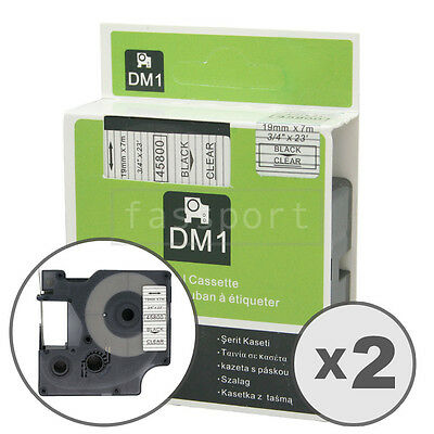 2pk Black on Clear Tape Label Compatible for DYMO 45800 D1 19mm 3/4""