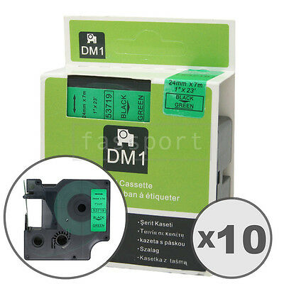 """10pk Black on Green Tape Label Compatible for DYMO 53719 D1 24mm 1"""""""