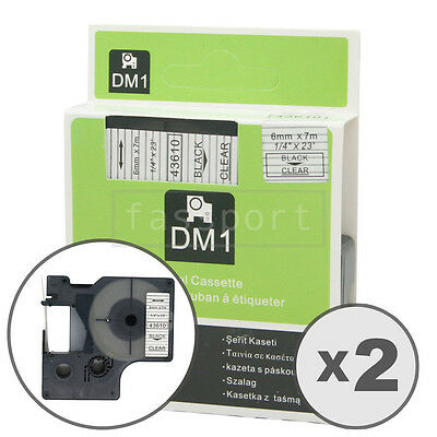 """2pk Black on Clear Tape Label Compatible for DYMO 43610 D1 6mm 1/4"""""""