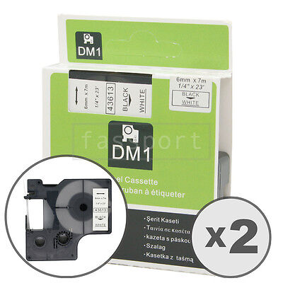 2pk Black on White Tape Label Compatible for DYMO 43613 D1 6mm 1/4""