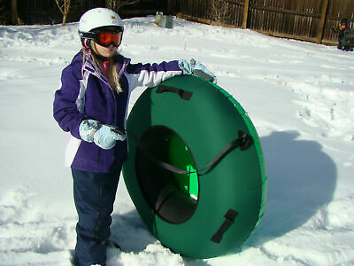"""Huge 44"""" Inflated ClearCreekTubes Snow Tube Combo Hunter Green/Green"""