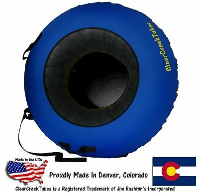 """Huge 44"""" Inflated ClearCreekTubes Snow Tube Combo Blue/Black"""