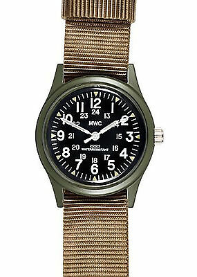 Official MWC Olive Vietnam Watch on Khaki Strap - 12 / 24 Watch Face - Military