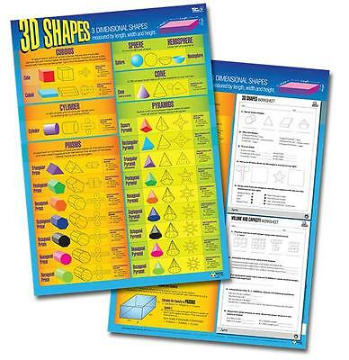 Shapes 3D Poster Double Sided Maths Teacher Resource Classroom Kids Learning