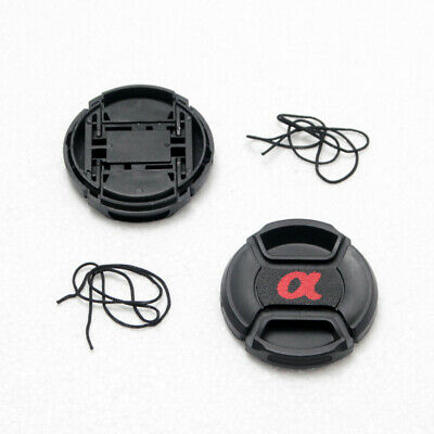 2X 52mm Center-Pinch Snap-On Front Lens Cap For Sony Others DSLR Lens With Cord