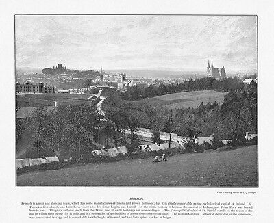 IRELAND View of Armagh Antique Photographic Print c1896