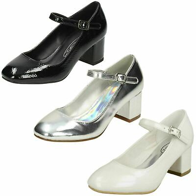 Girls Spot On Silver/Black Party Shoes Block heel UK Sizes 10-2 : H3R056