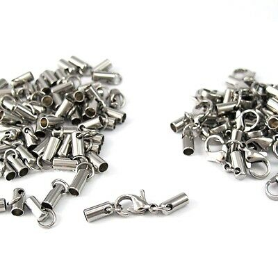 10 Set Wholesale Lots Silver Stainless Steel End Caps Lobster Clasp Connector