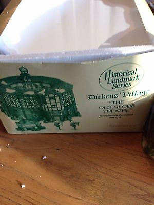 """Dept 56 Dickens Village """"THE OLD GLOBE THEATRE"""" #58501-Set of 4- NEW/Box"""