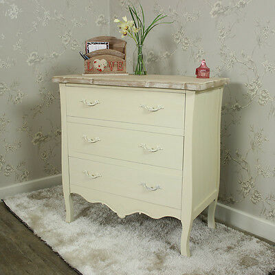Cream painted 3 drawer chest shabby french chic ornate bedroom furniture home