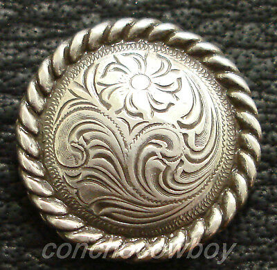 """Western Horse Tack Headstall Saddle Horn Cap Antique Rope Edge Concho 2-3/8"""""""
