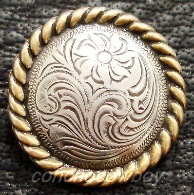 """Western Headstall Antique Gold Round Rope Edge Saddle Concho 1-1/2"""""""