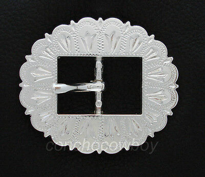 WESTERN ENGRAVED CENTER BAR CART BRIDLE  BUCKLE 9308 SHINY SILVER RODEO 3 SIZE
