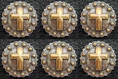 "Set of 6 WESTERN ANTIQUE GOLD CROSS BERRY CONCHOS 1-1/4"" screw back"