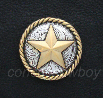 "WESTERN CRAFT ANTIQUE GOLD ROUND ROPE EDGE STAR SADDLE CONCHO 3/4"" screw back"