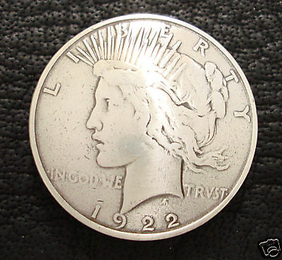 """Peace Dollar Reproduction Coin Concho 1-1/2"""" Face Side Screw Back"""