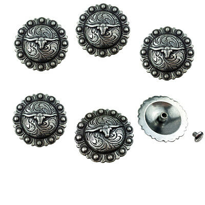 "Set of 6 WESTERN HORSE TACK SADDLE ANTIQUE LONGHORN BERRY CONCHOS 1"" SCREW BACK"