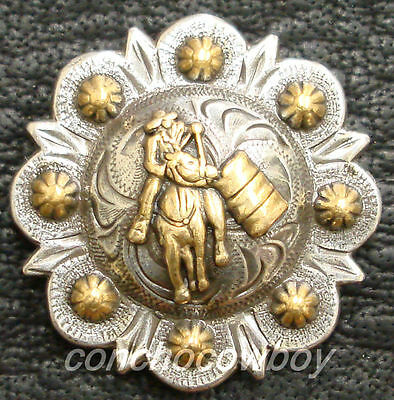 "Set of 6 WESTERN HORSE SADDLE TACK ANTIQUE GOLD BERRY CONCHOS 3//4/"" screw back"