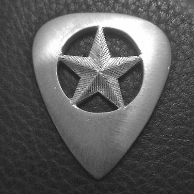 Mjg Sterling Silver Guitar Pick. Texas Lone Star. Srv.