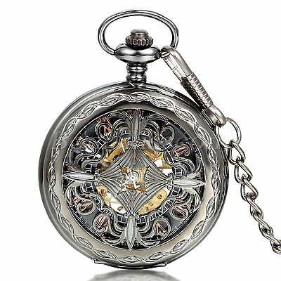 Men's Vintage Antique Hollow Chinese Knot Automatic Mechanical Pocket Watch