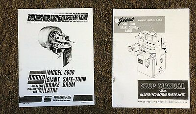 Ammco 5000 Giant Heavy Duty Brake Lathe Operating & Repair Manual w/ Parts ID
