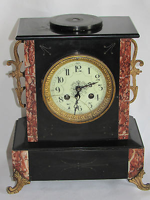 pendule horloge ancienne a poser en marbre et bronze a. Black Bedroom Furniture Sets. Home Design Ideas