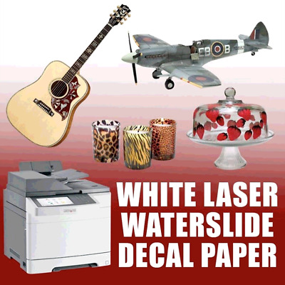 10 Decals, Waterslide Decal Paper- Laser WHITE - :)