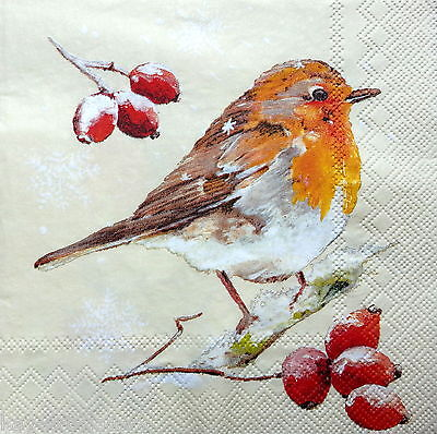 4 Vintage Table Paper Napkins for Party Lunch Decoupage Decopatch Christmas Bird