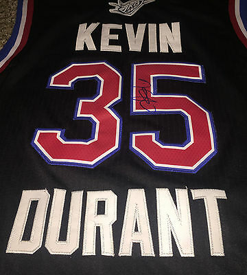 Kevin Durant Signed 2015 All Star Jersey OKC Thunder Size L Sewn On tags proof