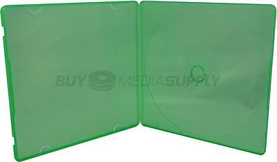 5mm Slimline Green Color 1 Disc CD/DVD PP Poly Case - 100 Pack