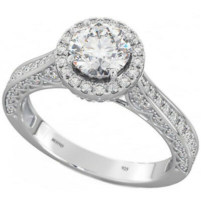 925 Sterling Silver Brilliant Round Cut Halo Wedding Engagement Bridal Ring