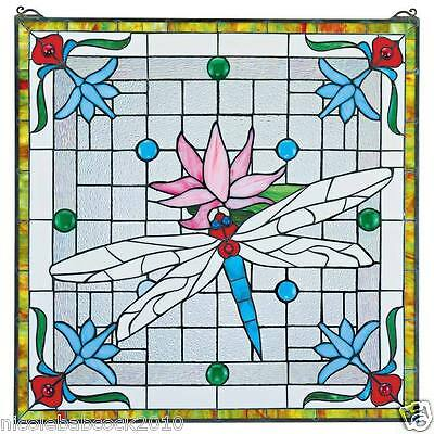 Victorian Style Gosamer Winged D- Fly In Pond W Flower Stained Glass Window