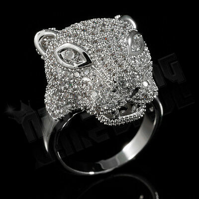 18K White Gold Plated ICED OUT CZ Panther Jaguar Band Mens Silver Rhodium Ring